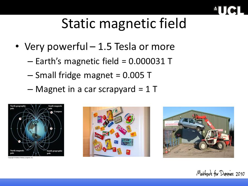 Static magnetic field Very powerful – 1.5 Tesla or more – Earth's magnetic field = 0.000031 T – Small fridge magnet = 0.005 T – Magnet in a car scrapy
