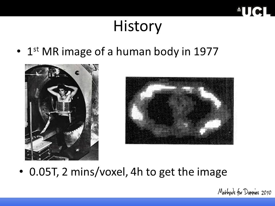 History 1 st MR image of a human body in 1977 2010 0.05T, 2 mins/voxel, 4h to get the image