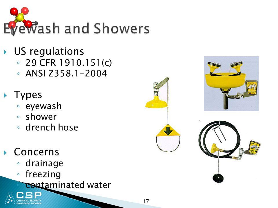 Eyewash and Showers  US regulations ◦ 29 CFR 1910.151(c) ◦ ANSI Z358.1-2004  Types ◦ eyewash ◦ shower ◦ drench hose  Concerns ◦ drainage ◦ freezing ◦ contaminated water 17