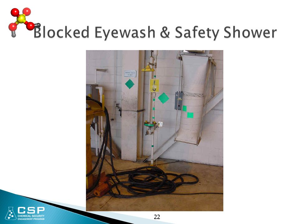 Blocked Eyewash & Safety Shower 22