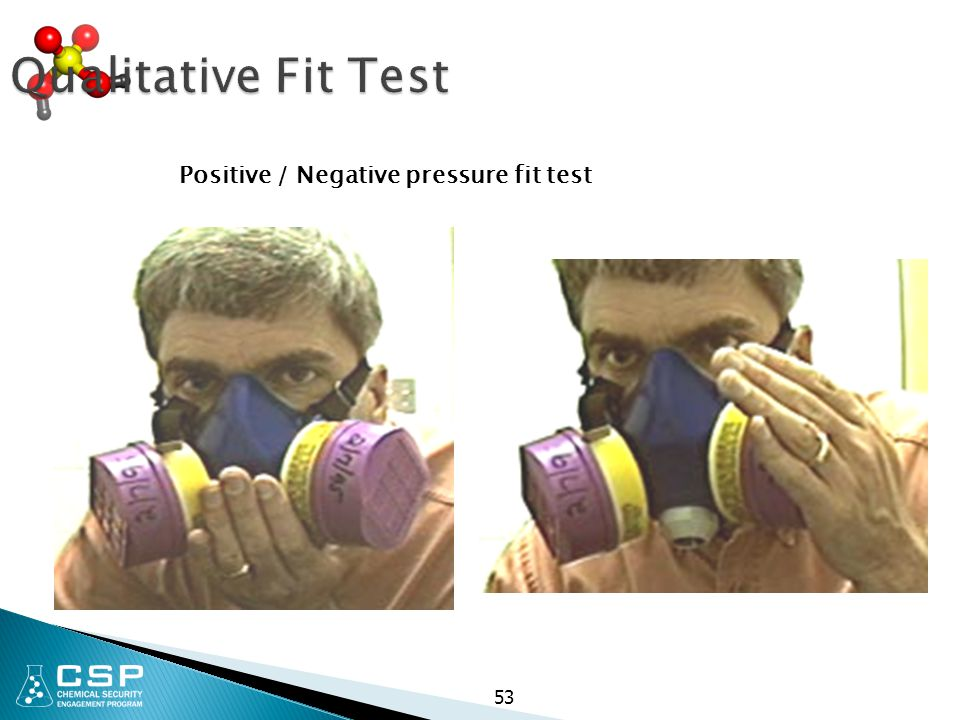 Qualitative Fit Test Positive / Negative pressure fit test 53