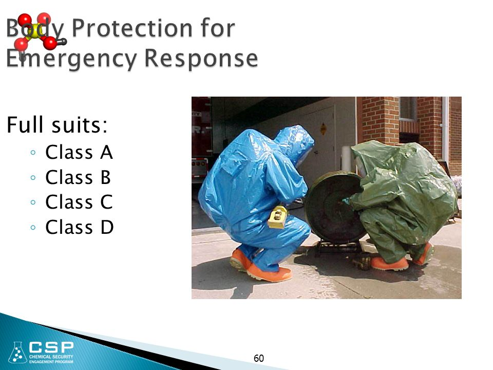 Body Protection for Emergency Response Full suits: ◦ Class A ◦ Class B ◦ Class C ◦ Class D 60