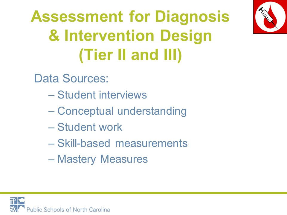 Assessment for Diagnosis & Intervention Design (Tier II and III) Data Sources: –Student interviews –Conceptual understanding –Student work –Skill-based measurements –Mastery Measures