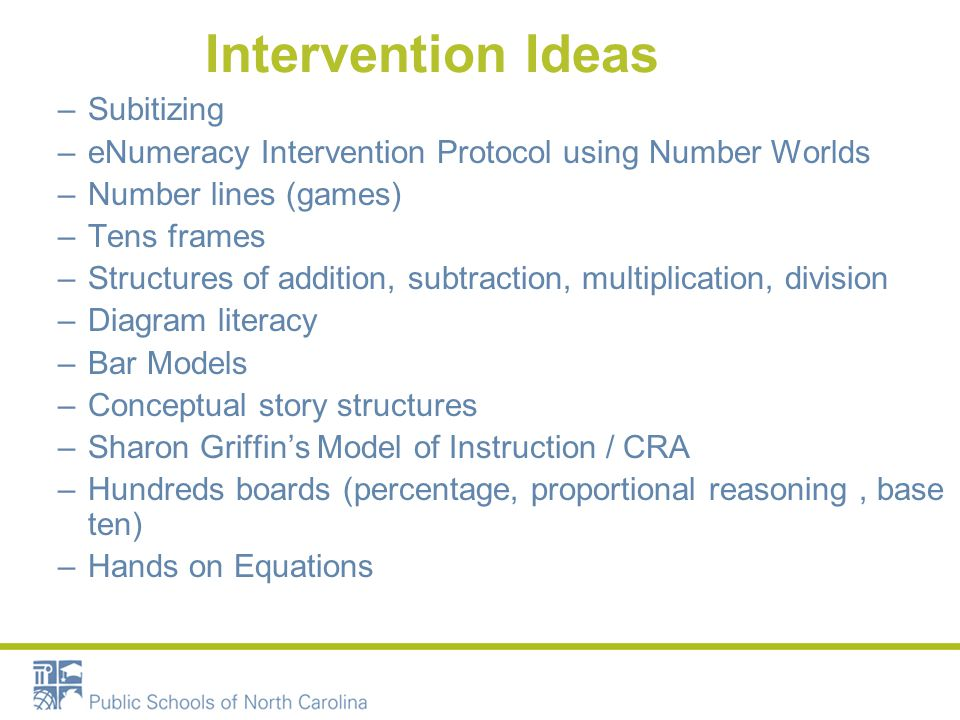 Intervention Ideas (con't) How we TEACH: –Trashketball –Dollar Deals –Paper Clip Chain –Bean Party