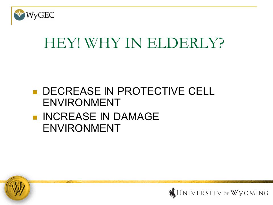 HEY! WHY IN ELDERLY? DECREASE IN PROTECTIVE CELL ENVIRONMENT INCREASE IN DAMAGE ENVIRONMENT