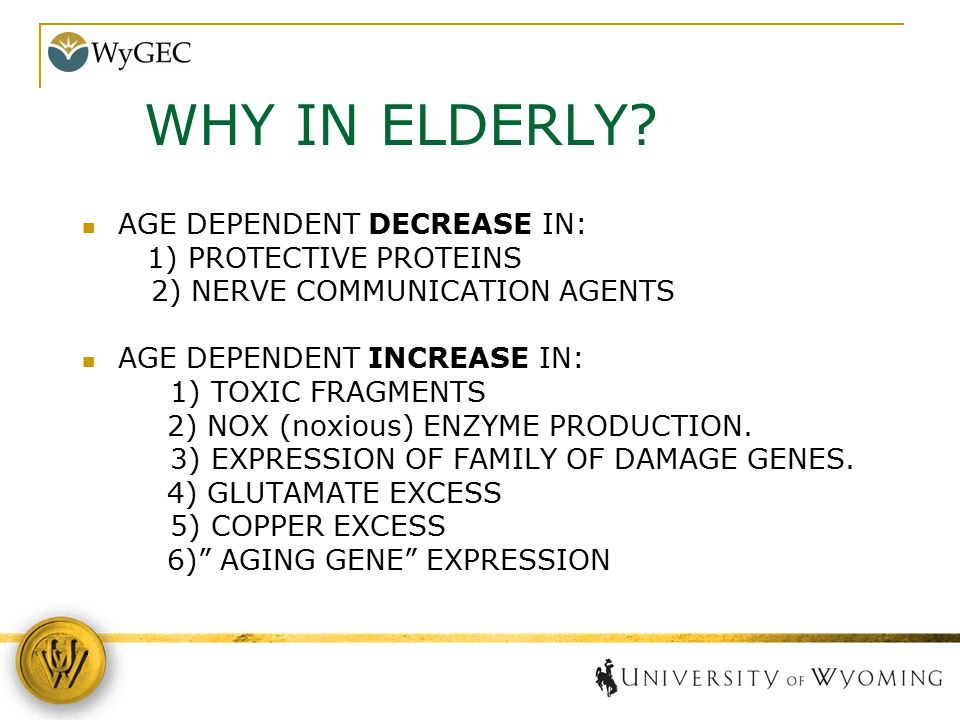 AGE DEPENDENT DECREASE IN: 1) PROTECTIVE PROTEINS 2) NERVE COMMUNICATION AGENTS AGE DEPENDENT INCREASE IN: 1) TOXIC FRAGMENTS 2) NOX (noxious) ENZYME
