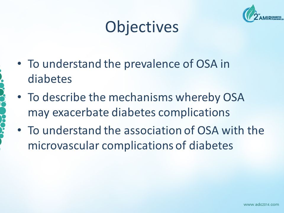 OSA and diabetic nephropathy: Cross-sectional multivariable analysis ModelR2R2OR95% CIP value Unadjusted 0.093.121.70-5.75p<0.001 Adjusted 0.462.641.13-6.16p=0.02 Adjusted for gender, ethnicity, age, diabetes duration, BMI, mean arterial pressure, HbA1c, triglycerides, treatment with insulin, GLP-1 analogues, anti-hypertensives, total cholesterol, HDL, lipid lowering treatment, anti-platelets, oral anti diabetes agents, alcohol (units per week), smoking (current or ex smoking vs.