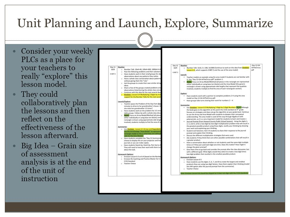 Unit Planning and Launch, Explore, Summarize Consider your weekly PLCs as a place for your teachers to really explore this lesson model.
