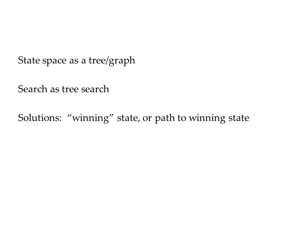 State space as a tree/graph Search as tree search Solutions: winning state, or path to winning state