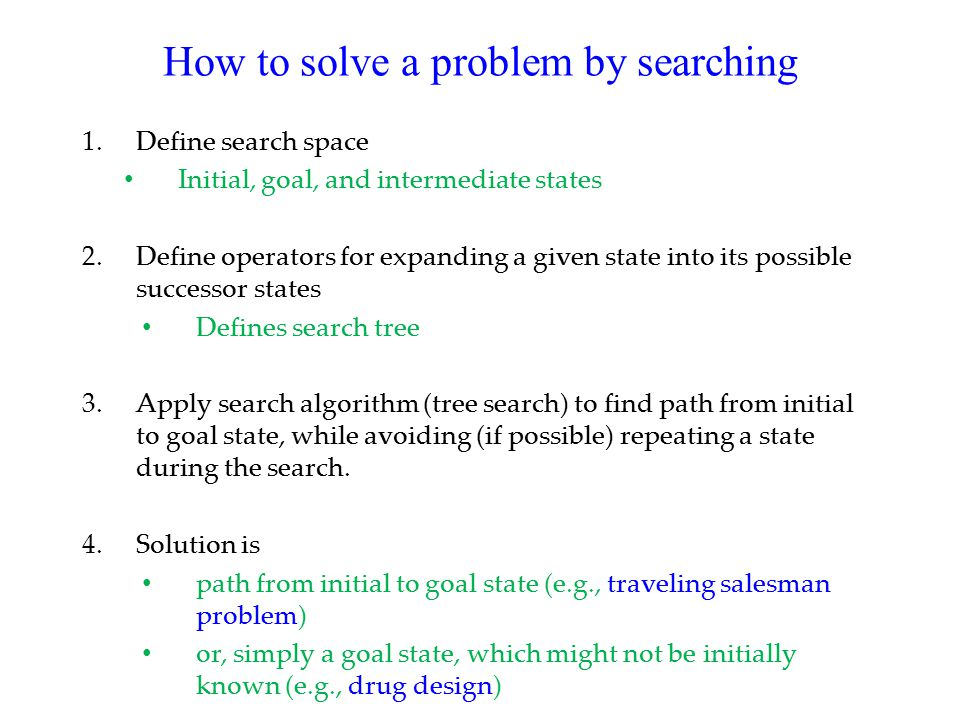 How to solve a problem by searching 1.Define search space Initial, goal, and intermediate states 2.Define operators for expanding a given state into its possible successor states Defines search tree 3.Apply search algorithm (tree search) to find path from initial to goal state, while avoiding (if possible) repeating a state during the search.