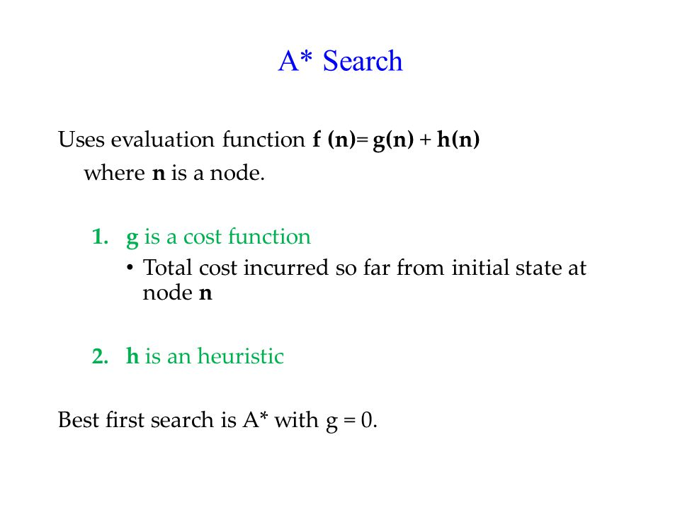 A* Search Uses evaluation function f (n)= g(n) + h(n) where n is a node.