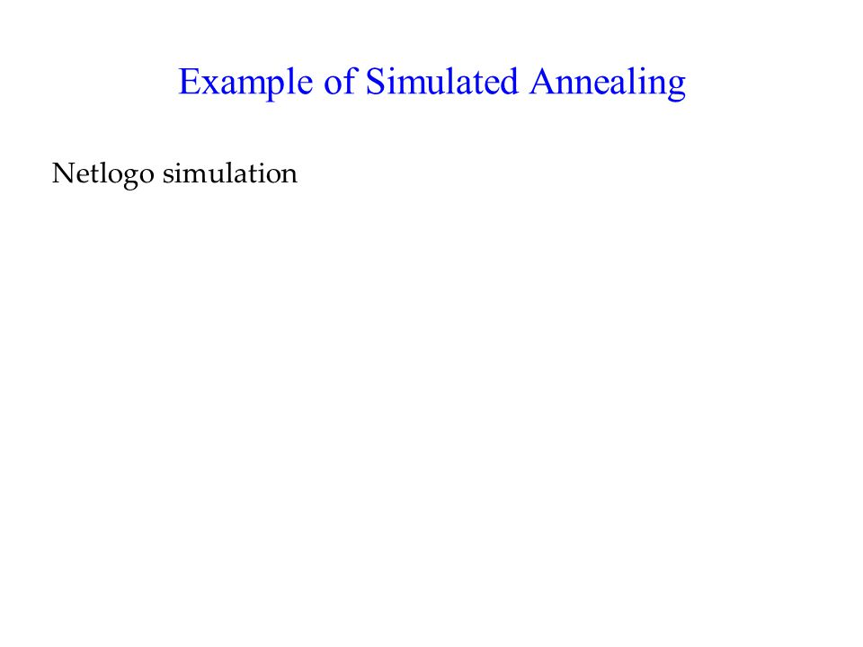 Example of Simulated Annealing Netlogo simulation