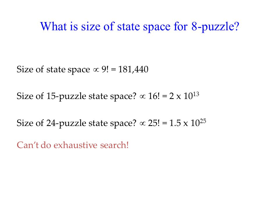 What is size of state space for 8-puzzle. Size of state space  9.