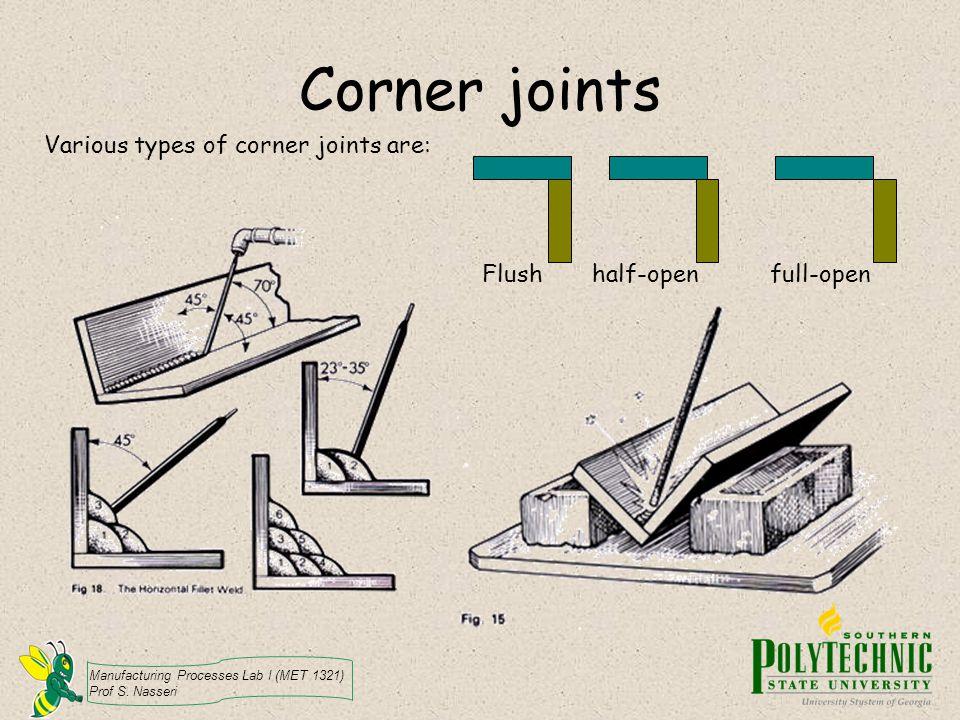Manufacturing Processes Lab I (MET 1321) Prof S. Nasseri Corner joints Various types of corner joints are: Flush half-open full-open