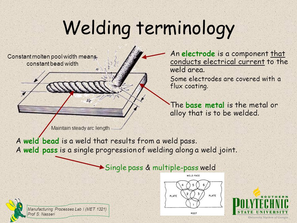 Manufacturing Processes Lab I (MET 1321) Prof S. Nasseri Welding terminology An electrode is a component that conducts electrical current to the weld