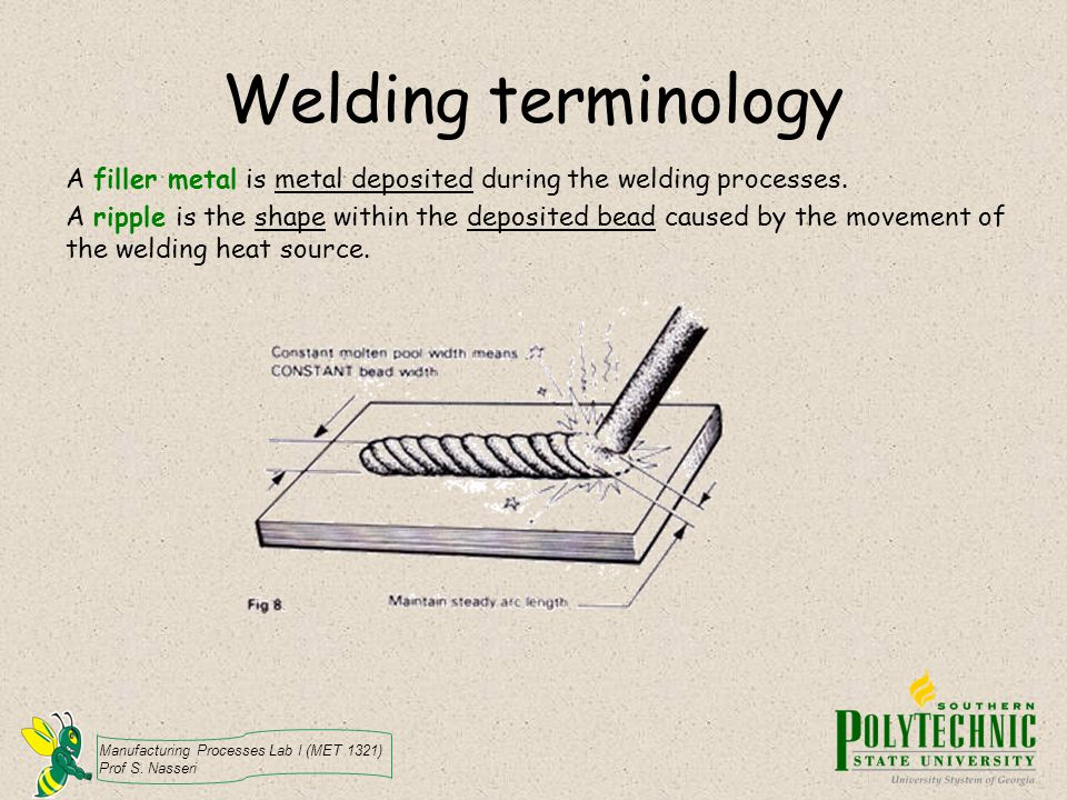Manufacturing Processes Lab I (MET 1321) Prof S. Nasseri Welding terminology A filler metal is metal deposited during the welding processes. A ripple