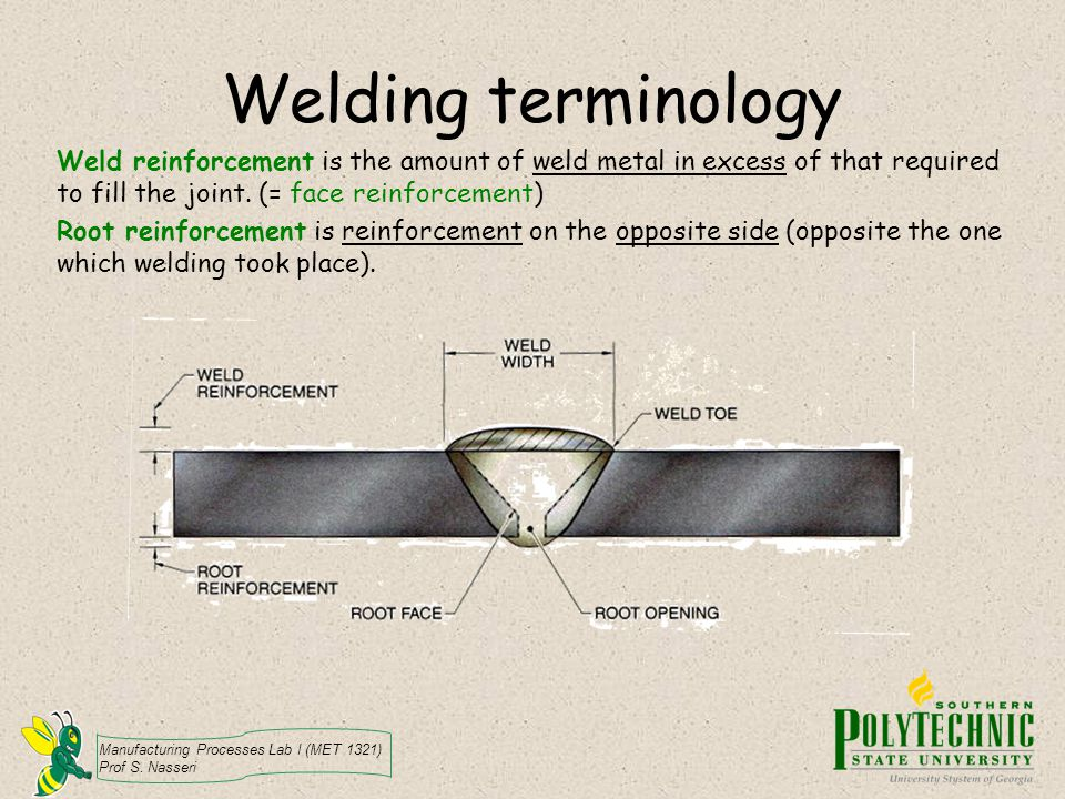 Manufacturing Processes Lab I (MET 1321) Prof S. Nasseri Welding terminology Weld reinforcement is the amount of weld metal in excess of that required