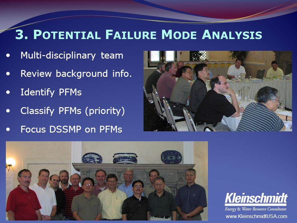 3. P OTENTIAL F AILURE M ODE A NALYSIS Multi-disciplinary team Review background info. Identify PFMs Classify PFMs (priority) Focus DSSMP on PFMs www.