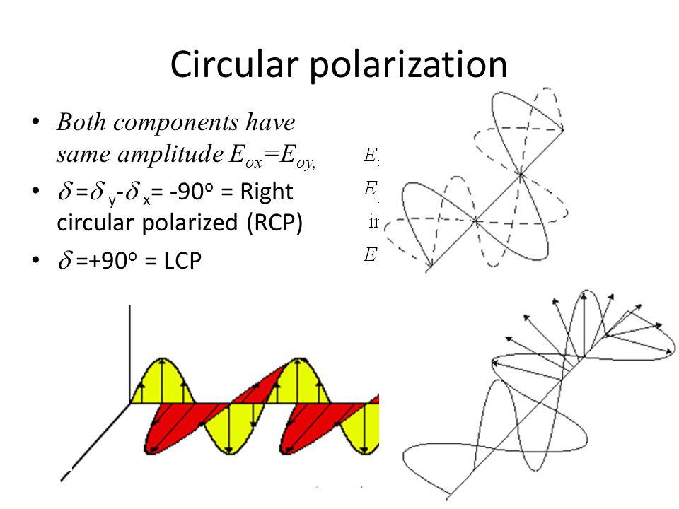 Circular polarization Both components have same amplitude E ox =E oy,  =  y -  x = -90 o = Right circular polarized (RCP)  =+90 o = LCP Cruz-Pol,E