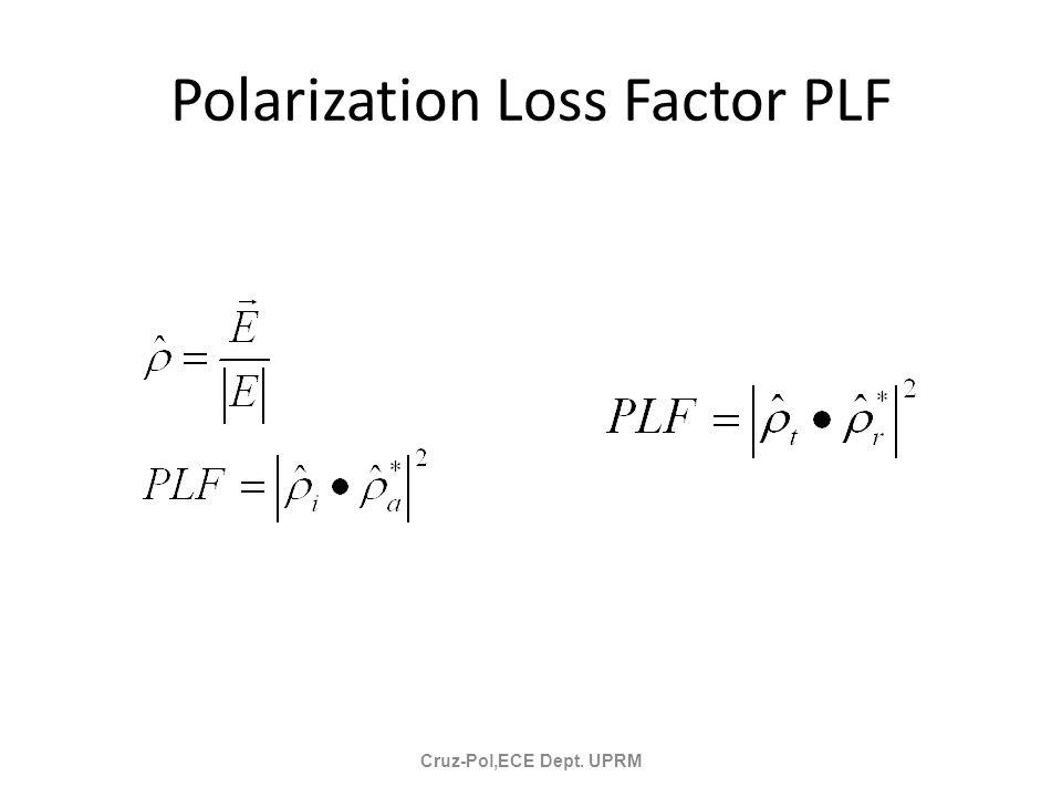 Polarization Loss Factor PLF Cruz-Pol,ECE Dept. UPRM