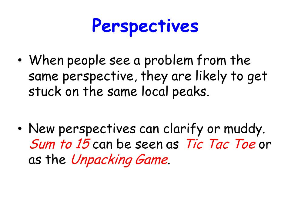 Perspectives When people see a problem from the same perspective, they are likely to get stuck on the same local peaks. New perspectives can clarify o