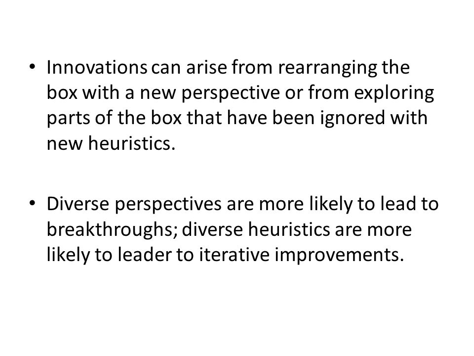 Innovations can arise from rearranging the box with a new perspective or from exploring parts of the box that have been ignored with new heuristics. D