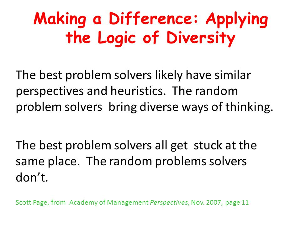 Making a Difference: Applying the Logic of Diversity The best problem solvers likely have similar perspectives and heuristics. The random problem solv