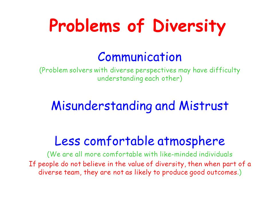 Problems of Diversity Communication (Problem solvers with diverse perspectives may have difficulty understanding each other) Misunderstanding and Mist