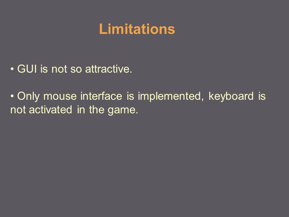 Limitations GUI is not so attractive.