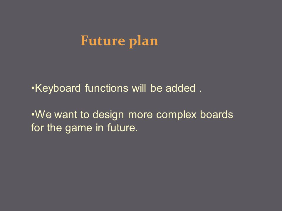 Future plan Keyboard functions will be added.