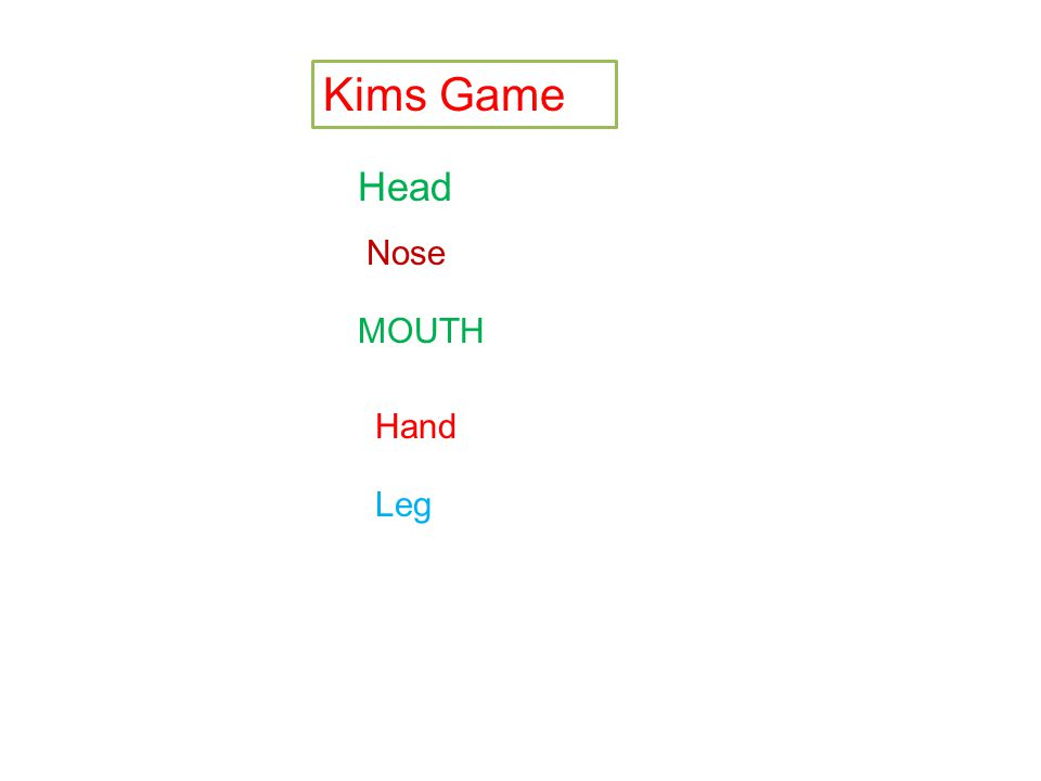 Kims Game Head Nose MOUTH Hand Leg