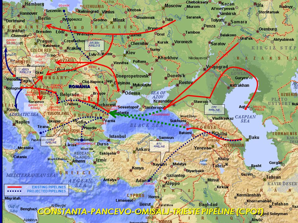 NOVOROSSIISK SUPSA TENGIZ OIL FIELDS PITESTI EXPORT TO BOSNIA NOVI SAD TERMINAL PANCEVO TERMINAL SISAK TERMINAL EXPORT VIA DRUZBA EXPORT VIA TAL ROMANIA BURGAS VLORE ALEXANDROPOLIS CEYHAN BRODI EXISTING PIPELINES PROJECTED PIPELINES CPC PIPELINE BTC PIPELINE AMBO PIPELINE DRUZBA PIPELINE GDANSK ADRIA PIPELINE CONSTANTA TERMINAL TRIESTE CONSTANTA-PANCEVO-OMISALJ-TRIESTE PIPELINE (CPOT)