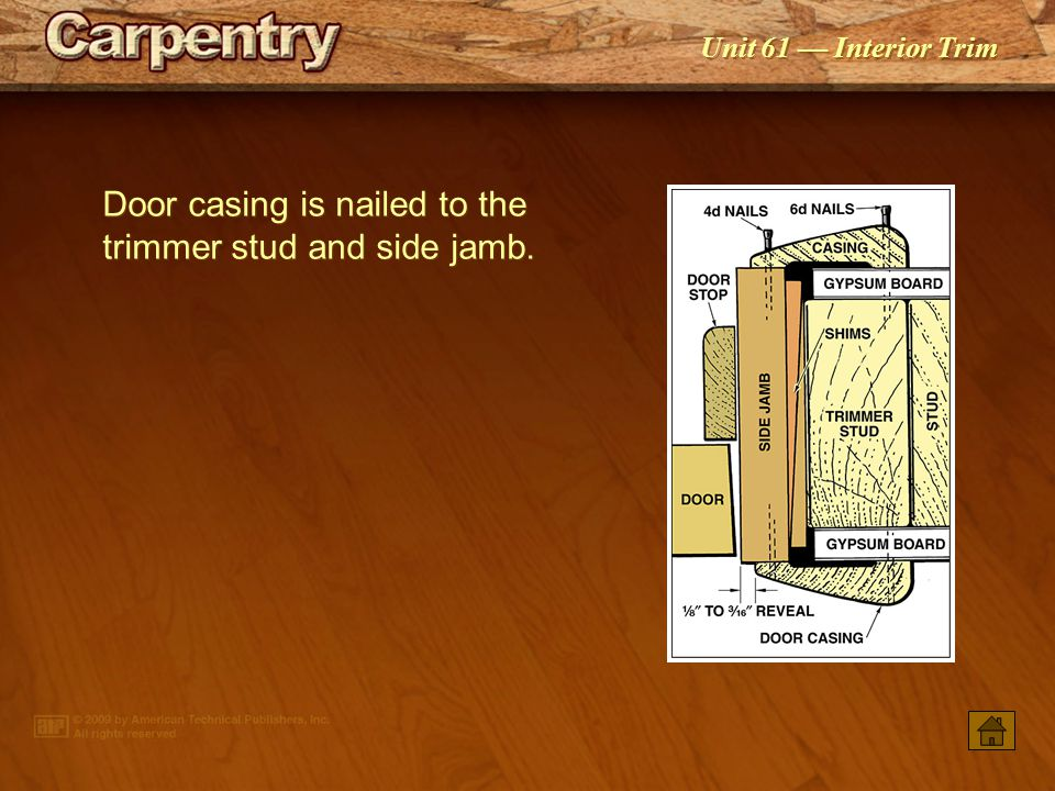 Unit 61 — Interior Trim Door casing patterns may be contemporary or traditional in design.
