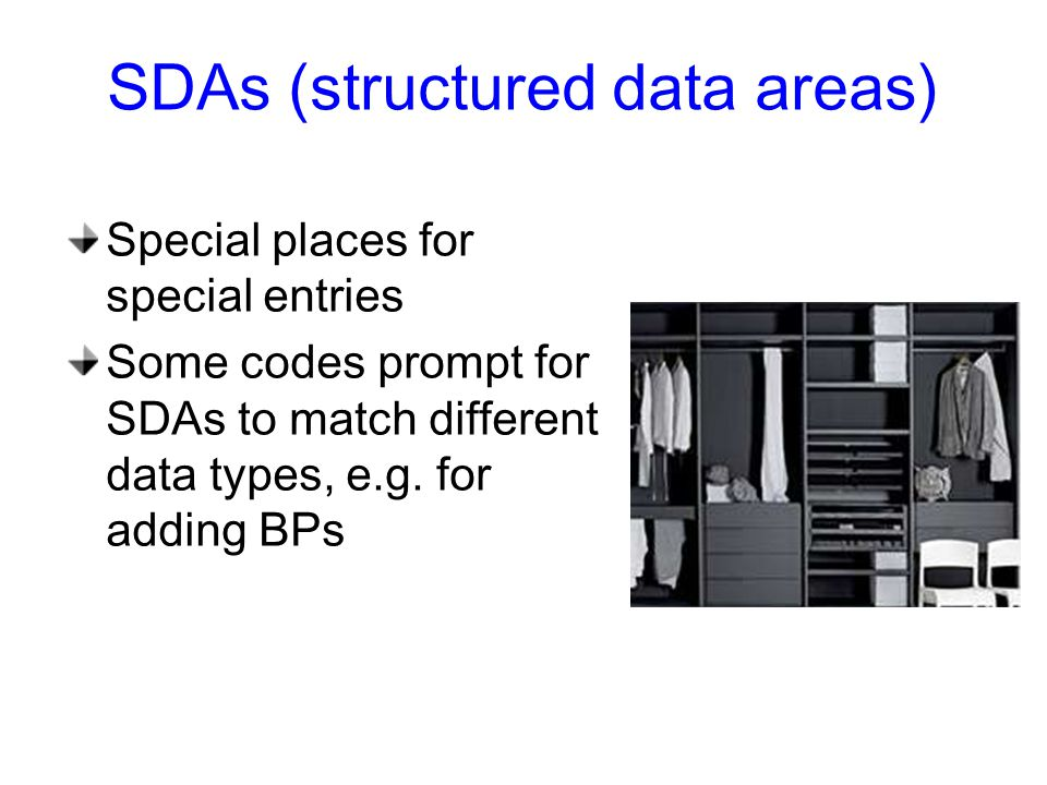 SDAs (structured data areas) Special places for special entries Some codes prompt for SDAs to match different data types, e.g.
