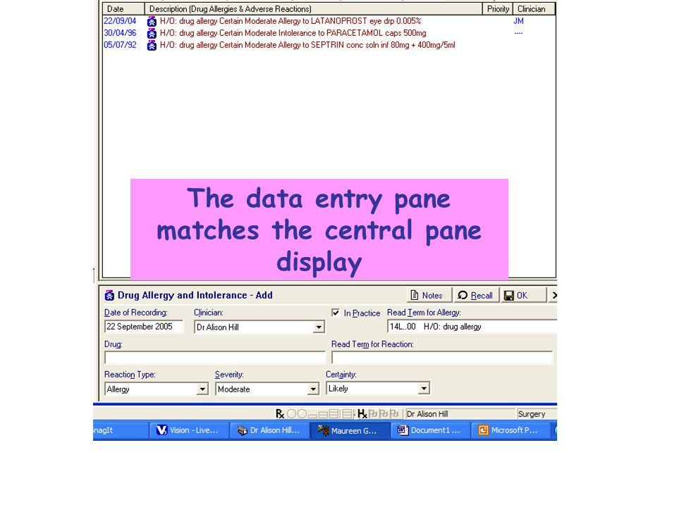The data entry pane matches the central pane display