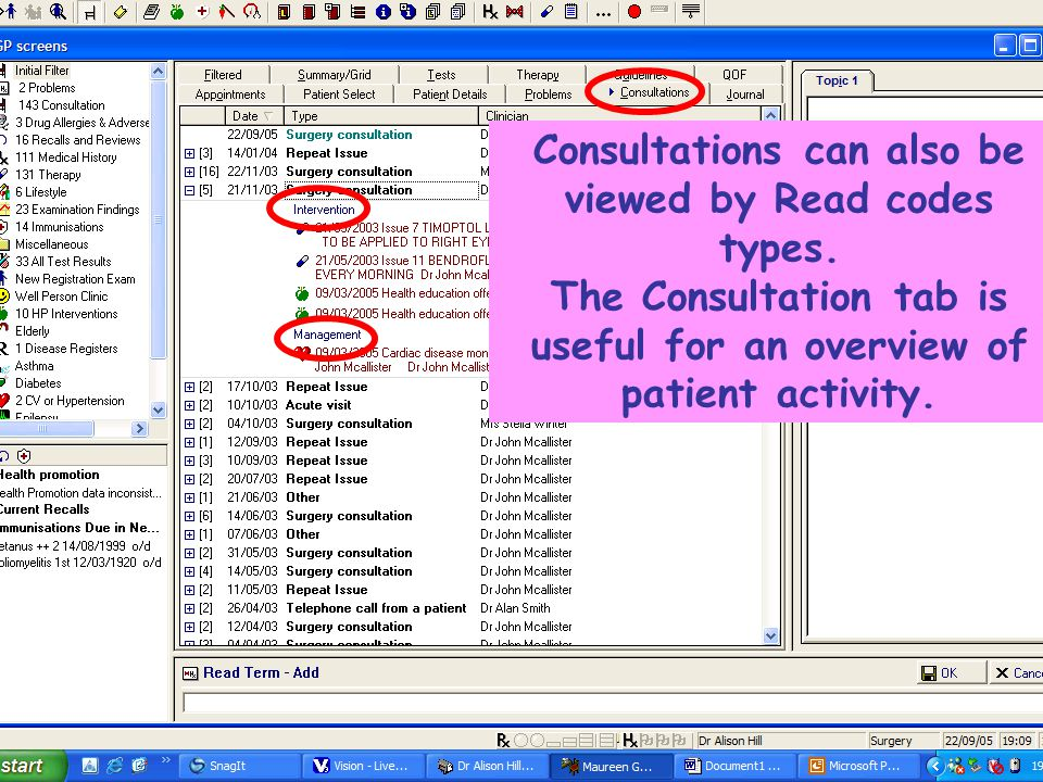 National Vision User Group Consultations can also be viewed by Read codes types.