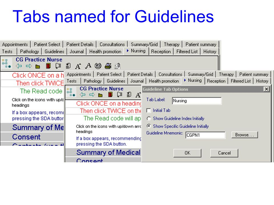 Tabs named for Guidelines