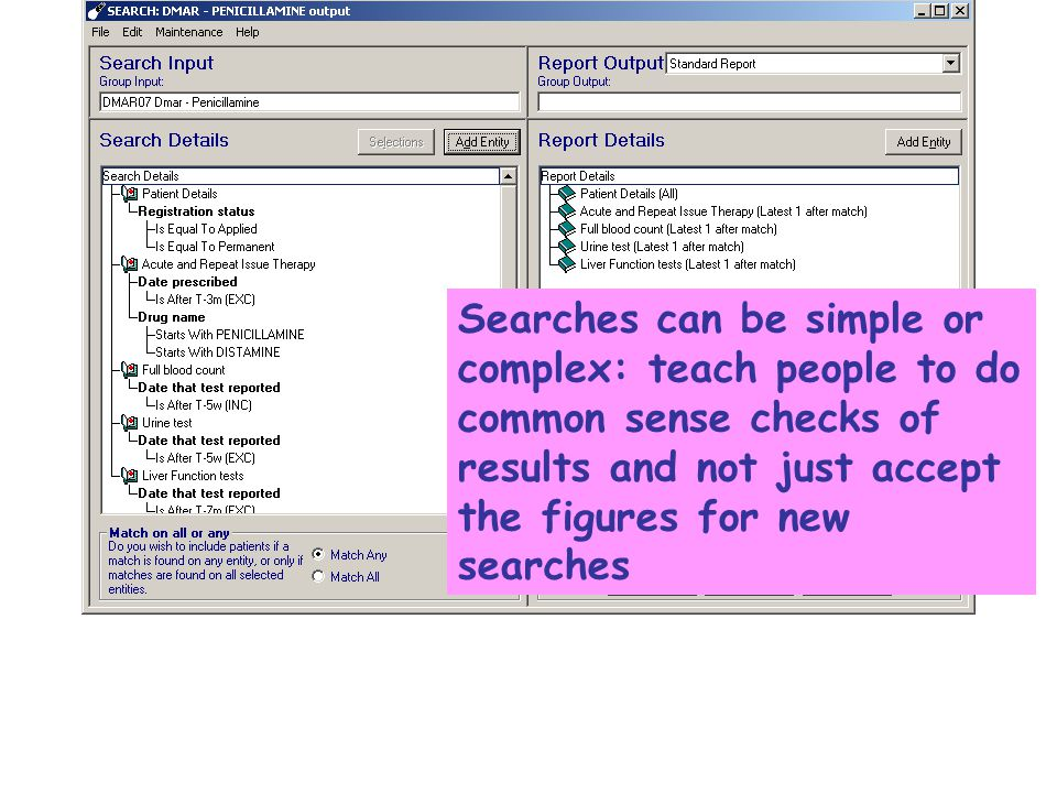 Searches can be simple or complex: teach people to do common sense checks of results and not just accept the figures for new searches