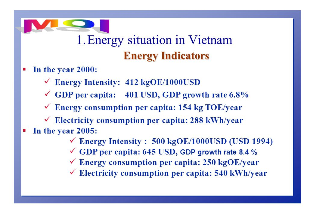 1. Energy situation in Vietnam Energy Indicators  In the year 2000: Energy Intensity: 412 kgOE/1000USD GDP per capita: 401 USD, GDP growth rate 6.8%