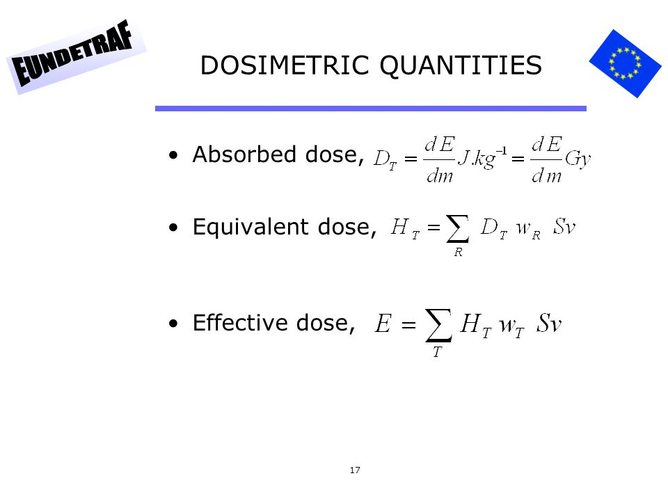 17 DOSIMETRIC QUANTITIES Absorbed dose, Equivalent dose, Effective dose,