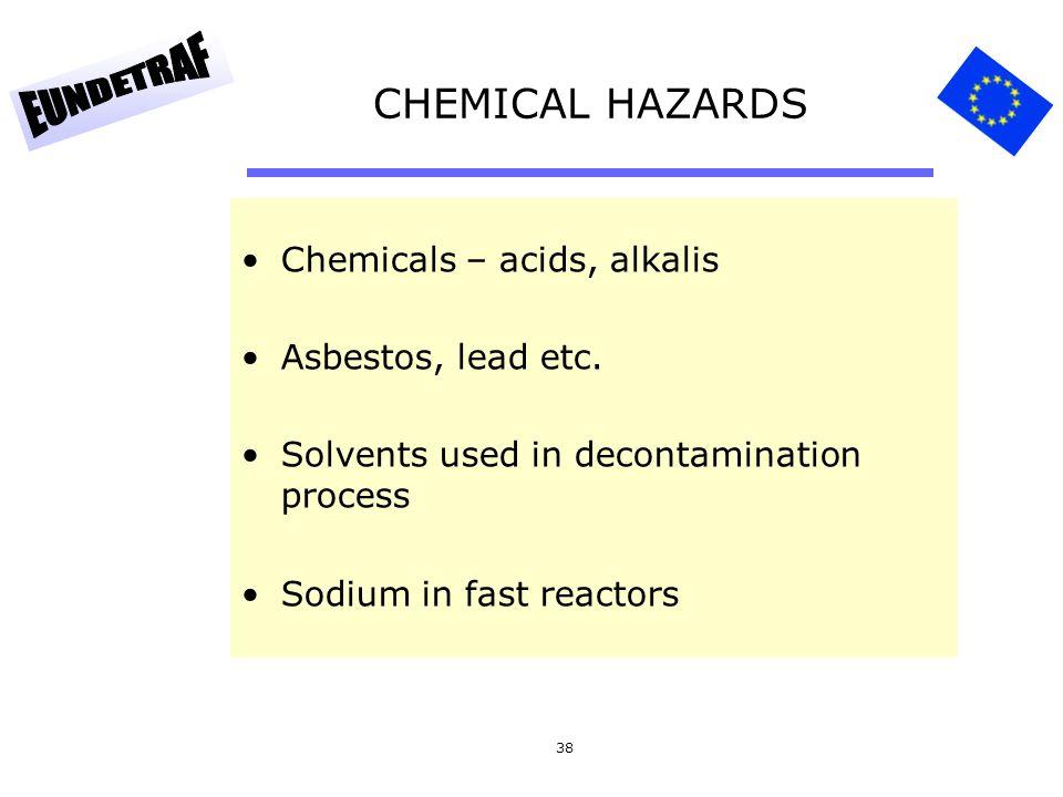 38 CHEMICAL HAZARDS Chemicals – acids, alkalis Asbestos, lead etc. Solvents used in decontamination process Sodium in fast reactors