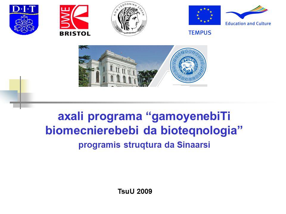axali programa gamoyenebiTi biomecnierebebi da bioteqnologia programis struqtura da Sinaarsi TsuU 2009