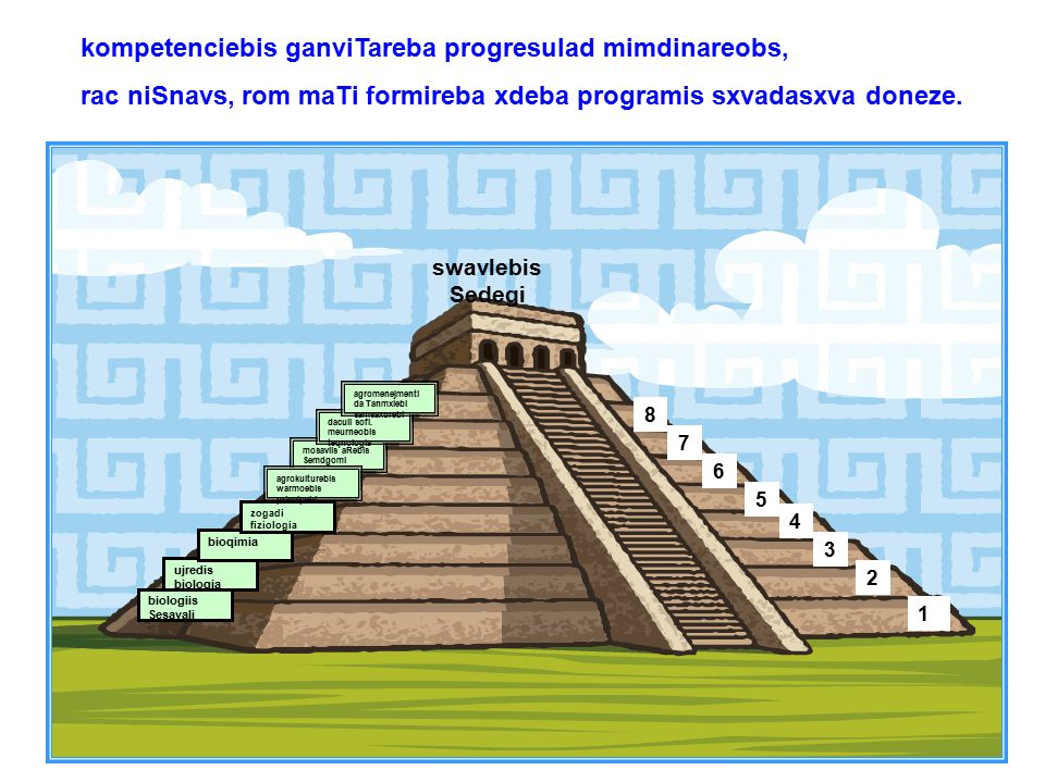 kompetenciebis ganviTareba progresulad mimdinareobs, rac niSnavs, rom maTi formireba xdeba programis sxvadasxva doneze.