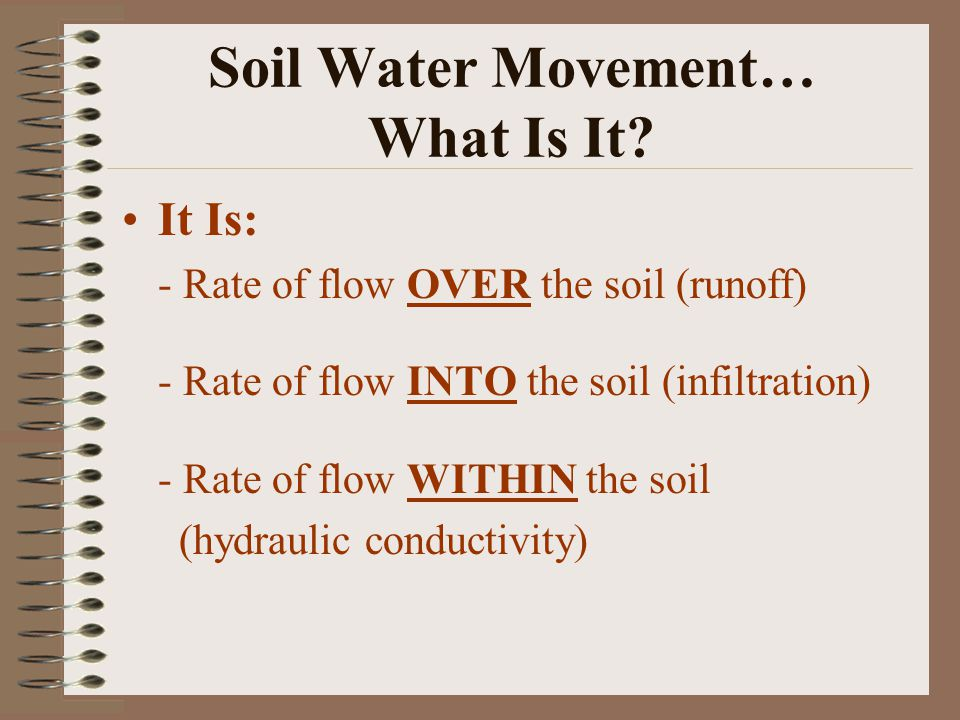 Soil Water Movement… What Is It.