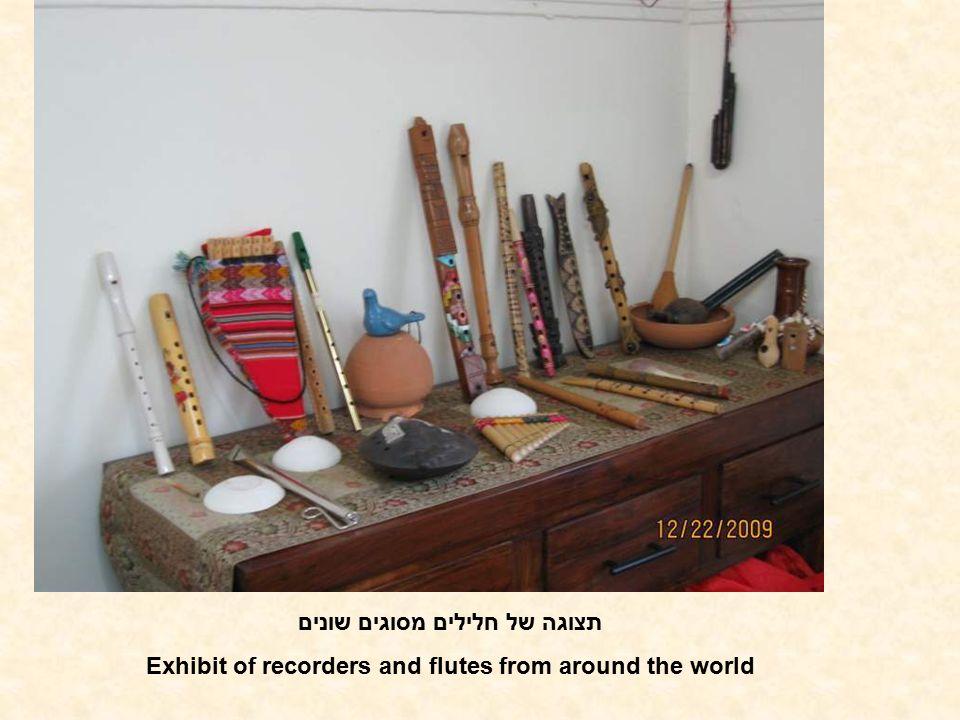 תצוגה של חלילים מסוגים שונים Exhibit of recorders and flutes from around the world