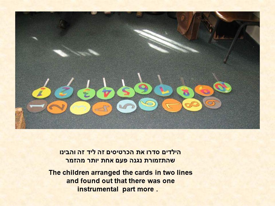 הילדים סדרו את הכרטיסים זה ליד זה והבינו שהתזמורת נגנה פעם אחת יותר מהזמר The children arranged the cards in two lines and found out that there was on