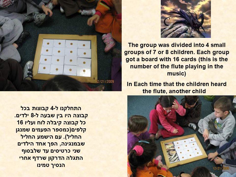 התחלקנו ל-4 קבוצות בכל קבוצה היו בין שבעה ל-8 ילדים. כל קבוצה קיבלה לוח ועליו 16 קלפים(כמספר הפעמים שמנגן החליל). עם הישמע החליל שבמנגינה, הפך אחד היל