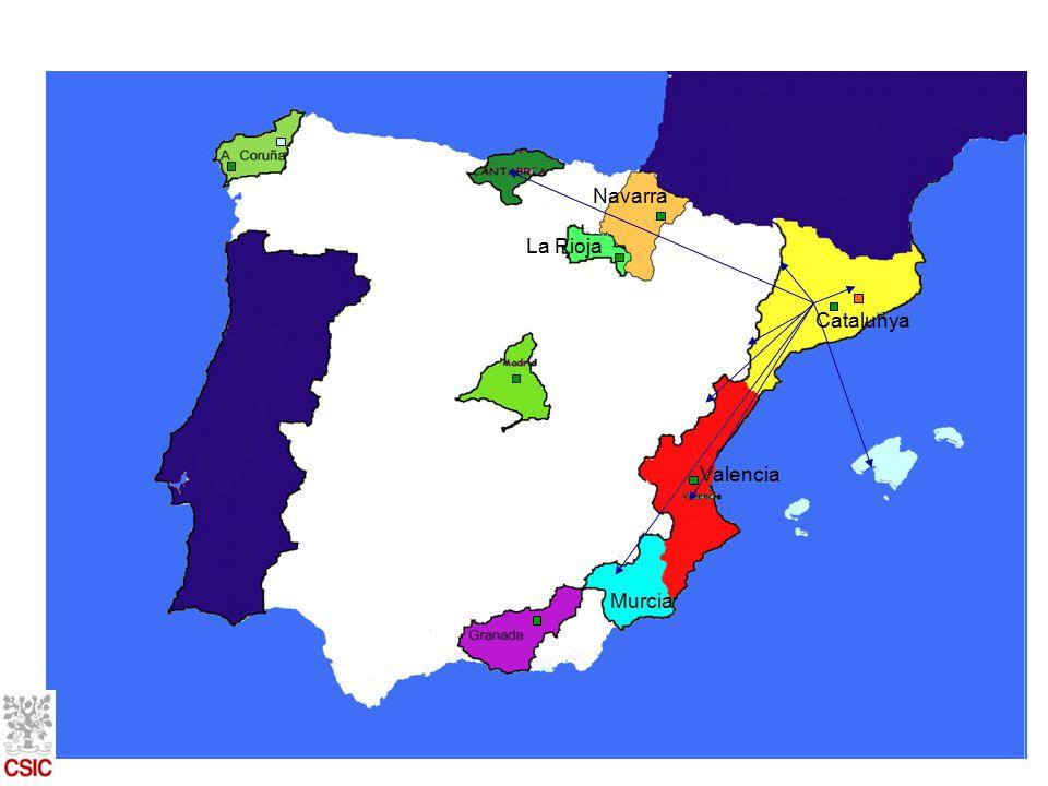 La Rioja Navarra Catalunya Murcia Valencia