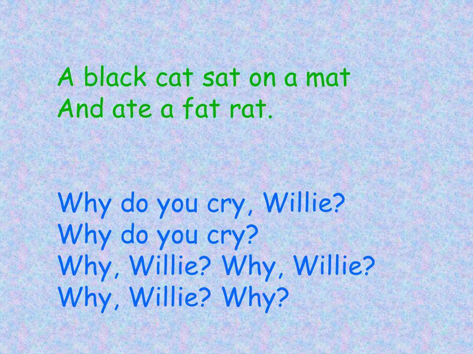 A black cat sat on a mat And ate a fat rat. Why do you cry, Willie? Why do you cry? Why, Willie? Why, Willie? Why, Willie? Why?