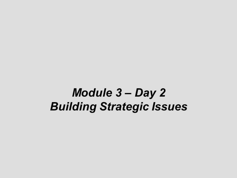 © Module 3 – Day 2 Building Strategic Issues